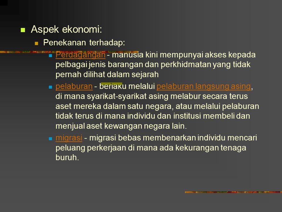 Aspek ekonomi: Penekanan terhadap: