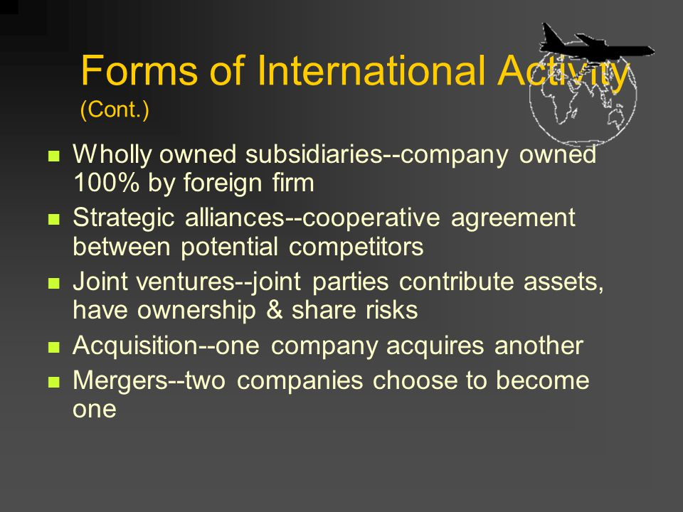 Forms of International Activity (Cont.)