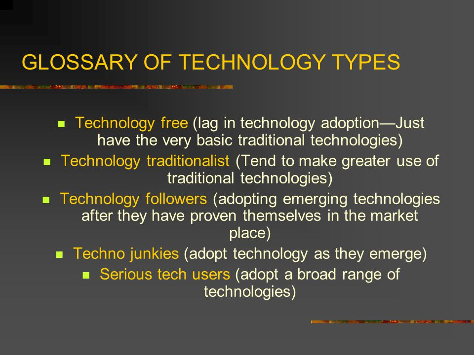 GLOSSARY OF TECHNOLOGY TYPES