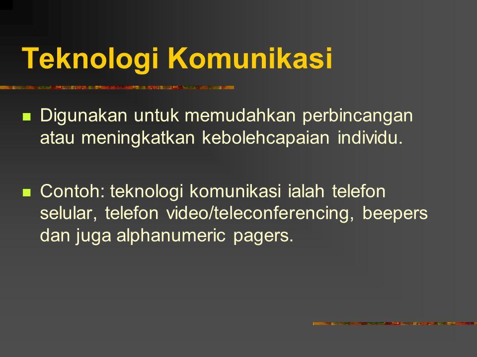 Teknologi Komunikasi Digunakan untuk memudahkan perbincangan atau meningkatkan kebolehcapaian individu.