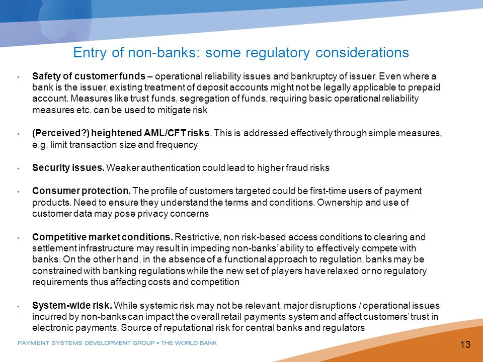 Entry of non-banks: some regulatory considerations