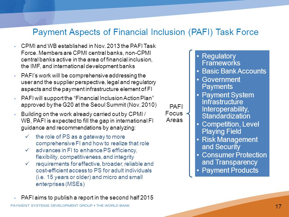 Payment Aspects of Financial Inclusion (PAFI) Task Force
