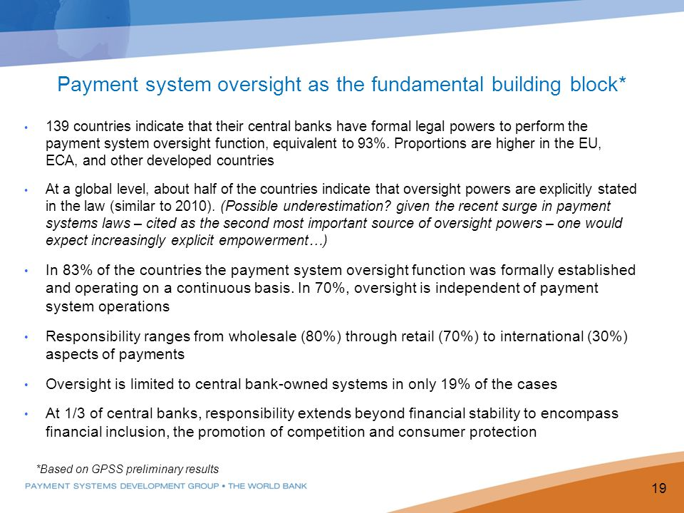Payment system oversight as the fundamental building block*