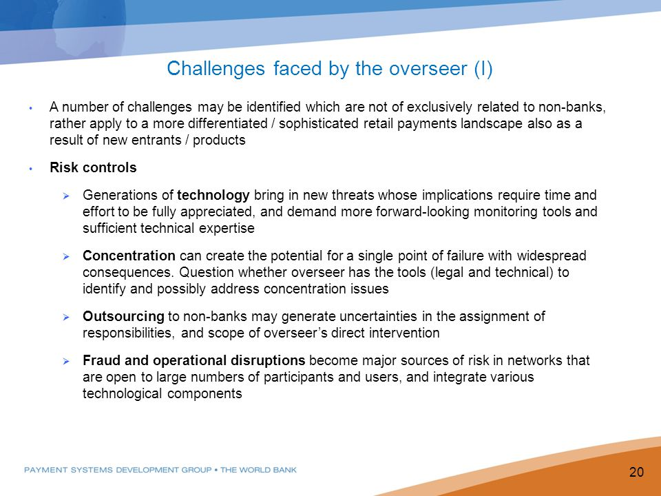 Challenges faced by the overseer (I)