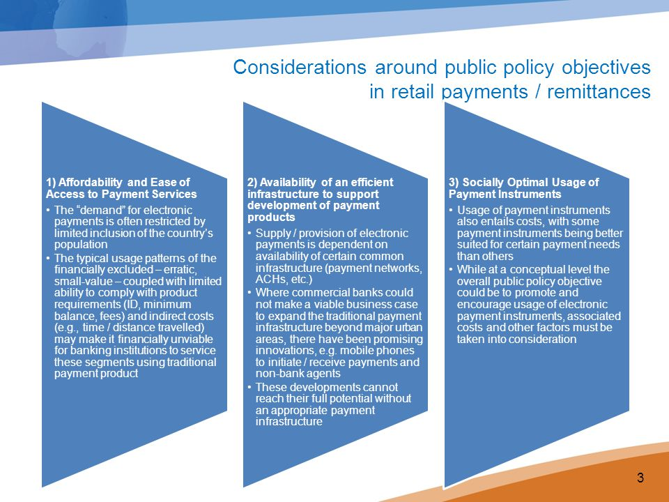 Considerations around public policy objectives in retail payments / remittances