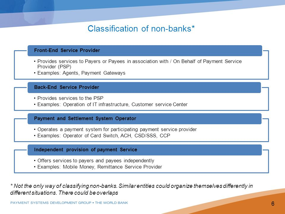 Classification of non-banks*
