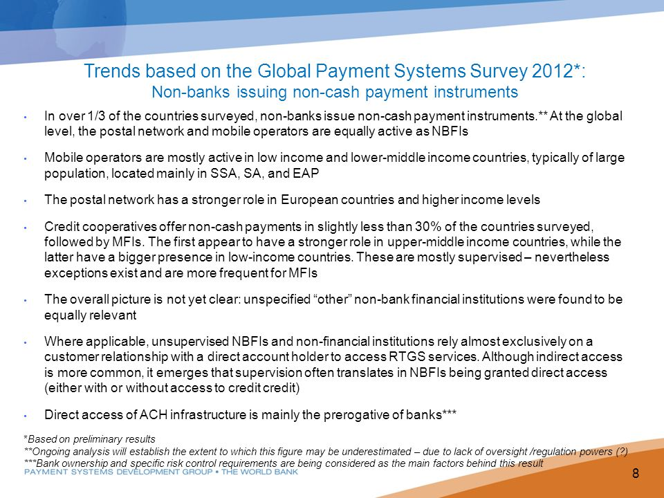 Trends based on the Global Payment Systems Survey 2012*: