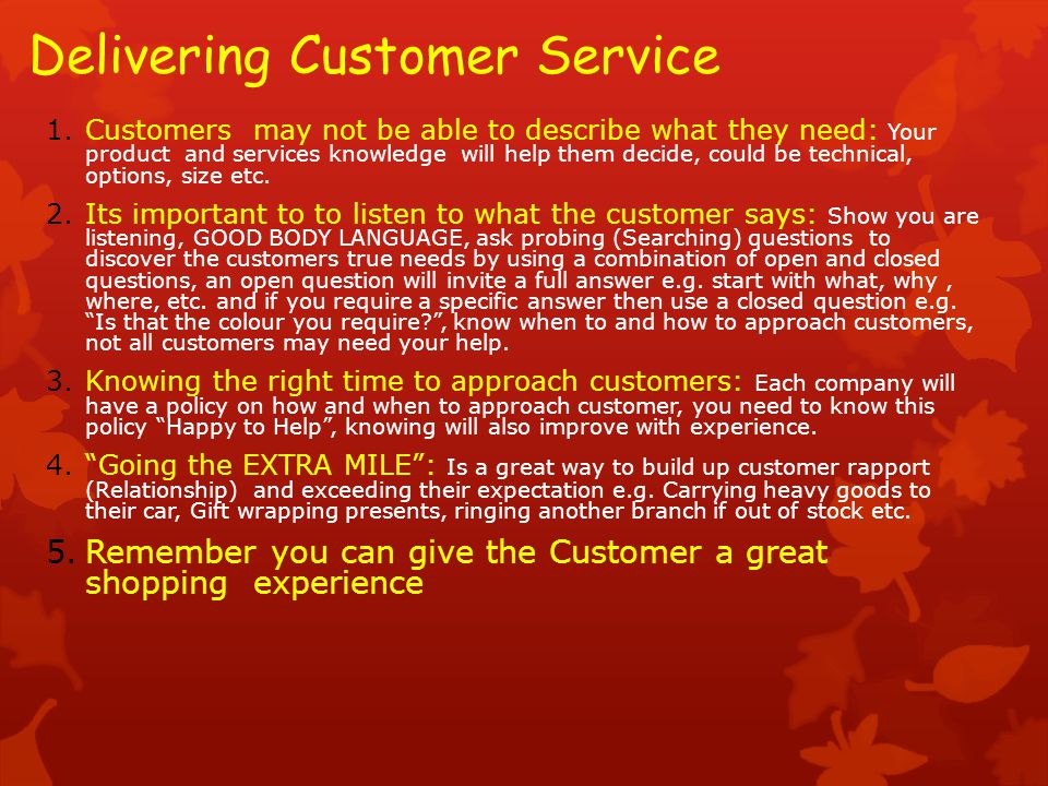 Delivering Customer Service