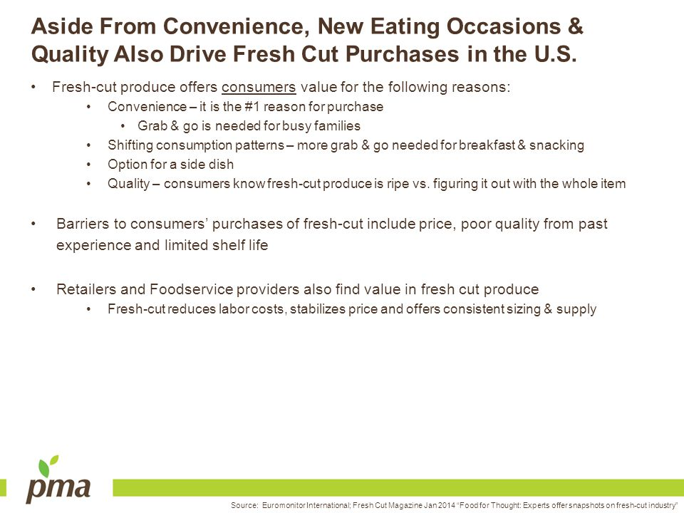 Aside From Convenience, New Eating Occasions & Quality Also Drive Fresh Cut Purchases in the U.S.