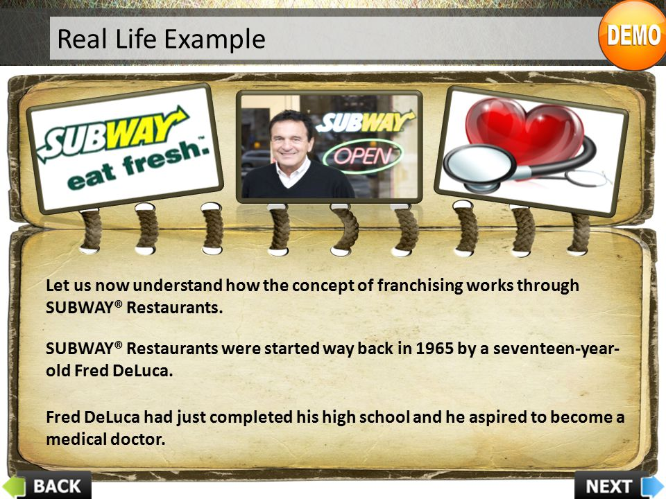 Real Life Example Let us now understand how the concept of franchising works through SUBWAY® Restaurants.