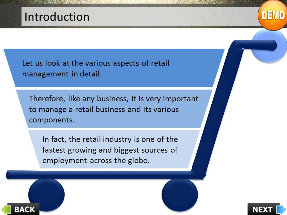 Introduction Let us look at the various aspects of retail management in detail.