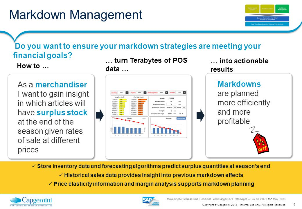 Historical sales data provides insight into previous markdown effects