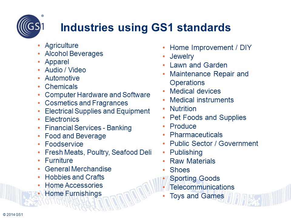 Industries using GS1 standards