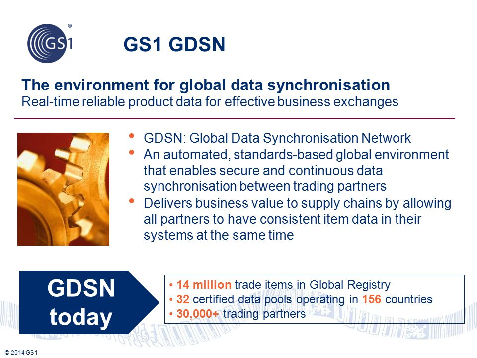 GDSN today GS1 GDSN The environment for global data synchronisation
