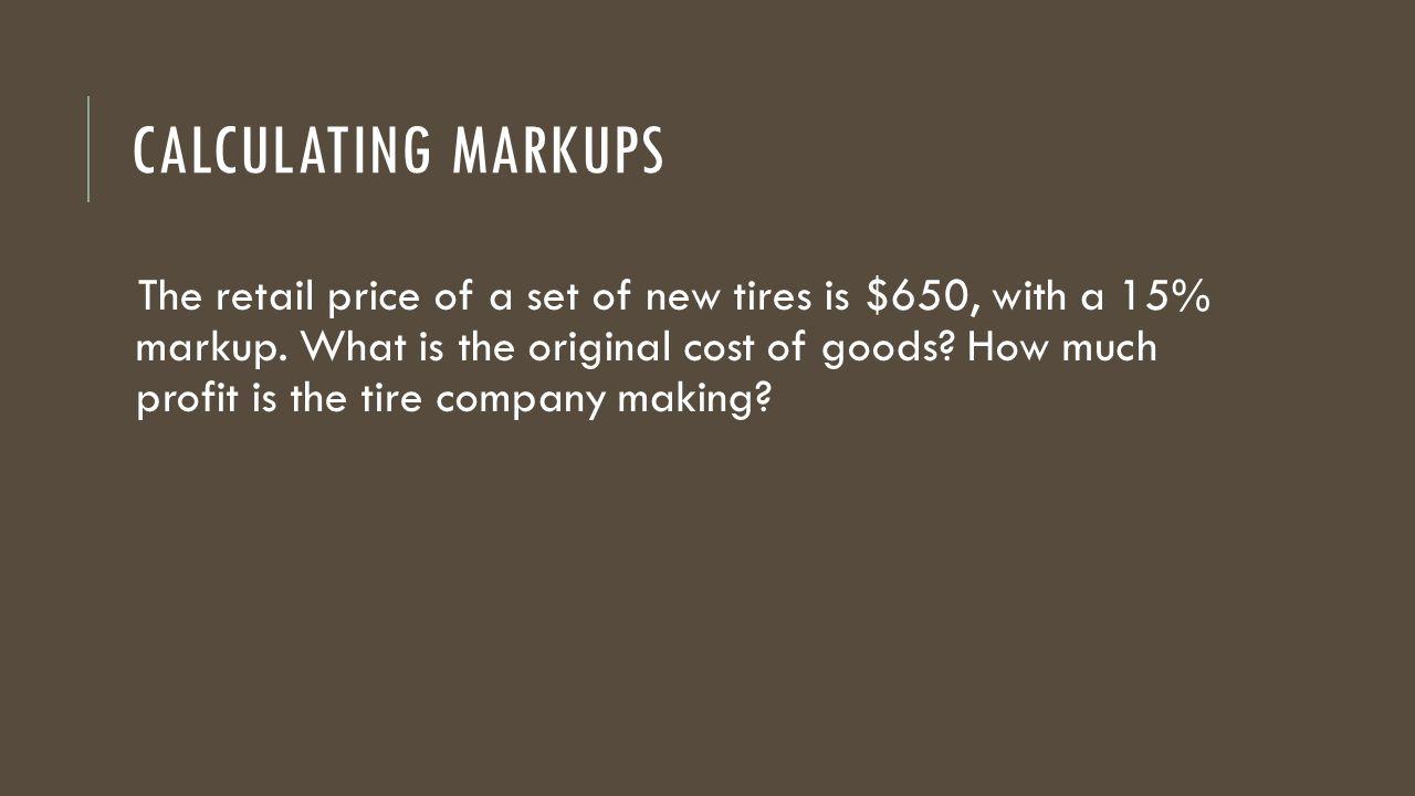 Calculating Markups