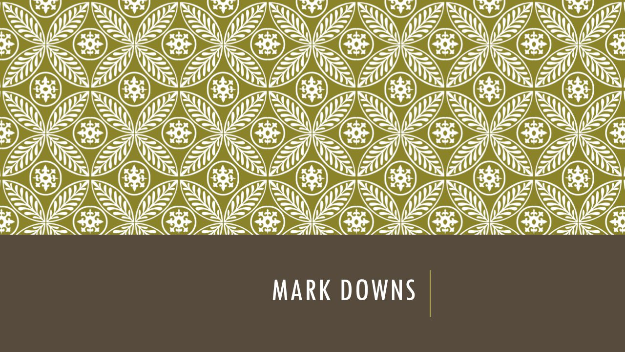 Mark downs