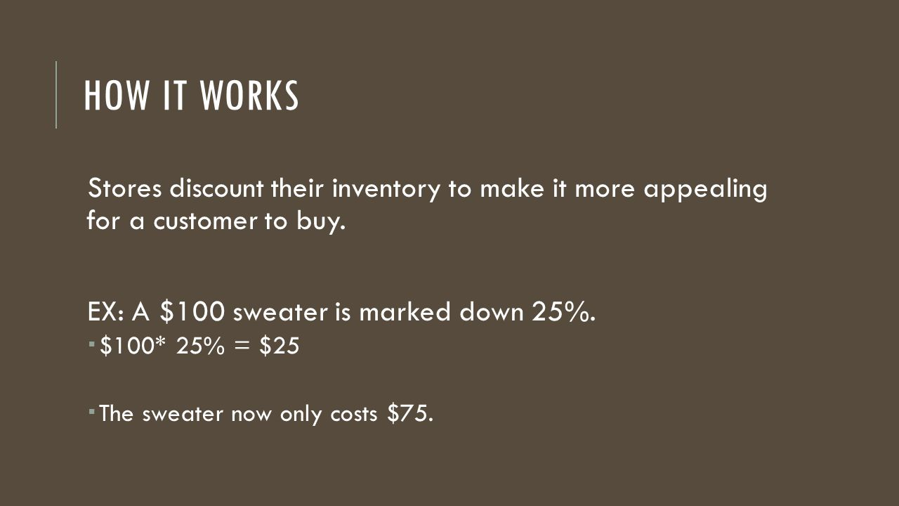 How it works Stores discount their inventory to make it more appealing for a customer to buy. EX: A $100 sweater is marked down 25%.