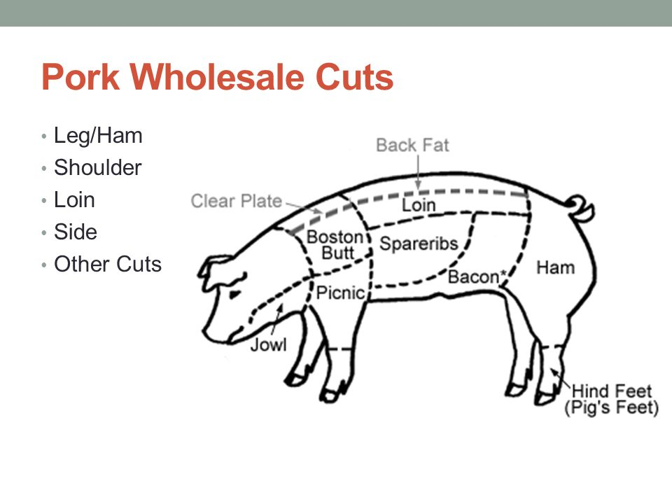 Pork Wholesale Cuts Leg/Ham Shoulder Loin Side Other Cuts