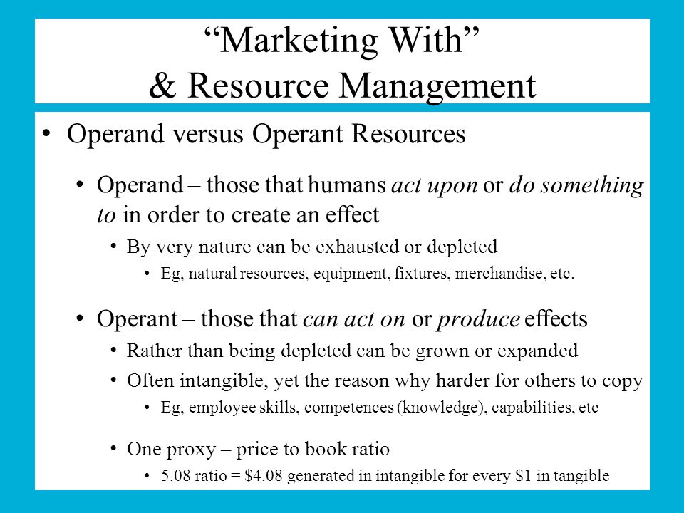 Marketing With & Resource Management