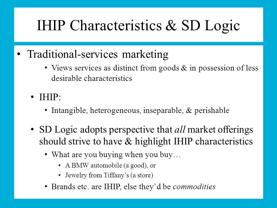 IHIP Characteristics & SD Logic