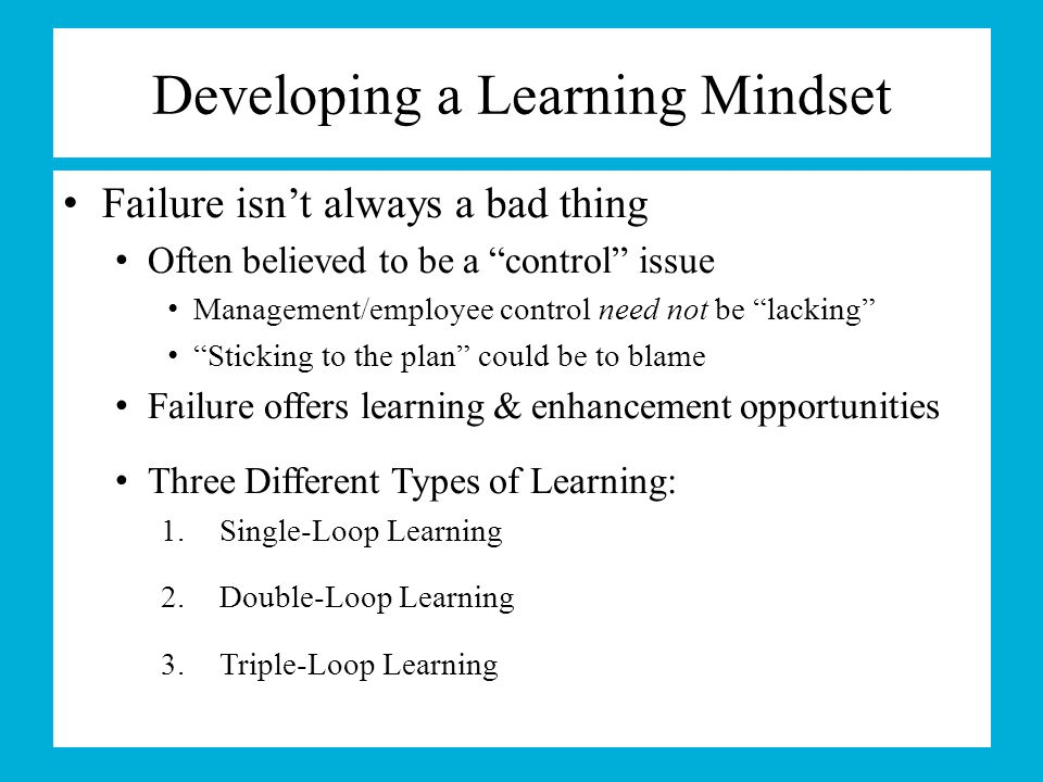 Developing a Learning Mindset