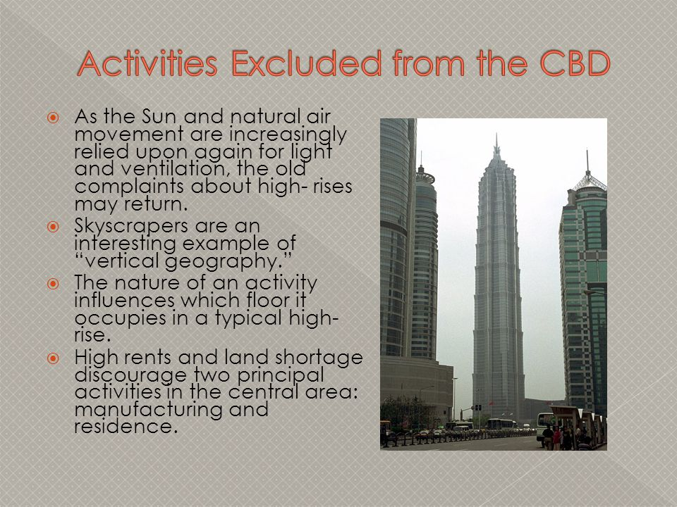 Activities Excluded from the CBD