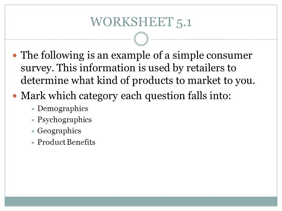WORKSHEET 5.1