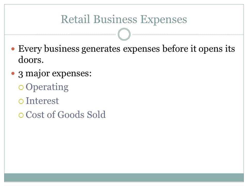 Retail Business Expenses