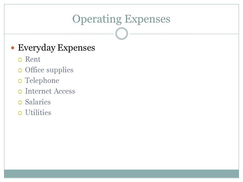 Operating Expenses Everyday Expenses Rent Office supplies Telephone