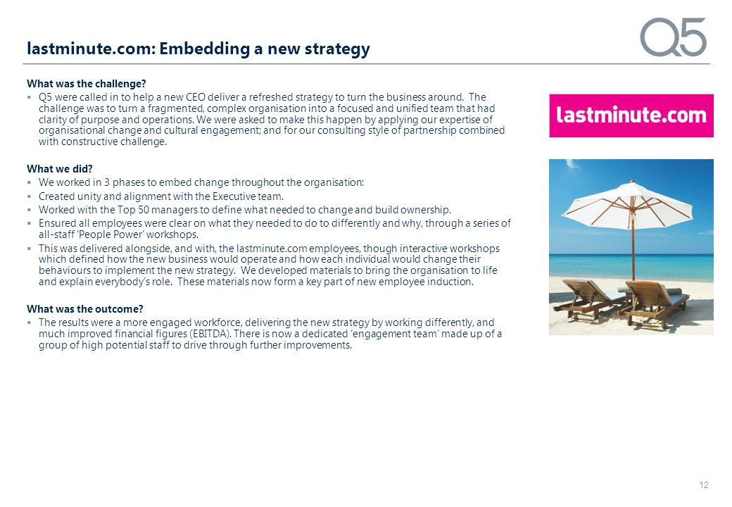 lastminute.com: Embedding a new strategy