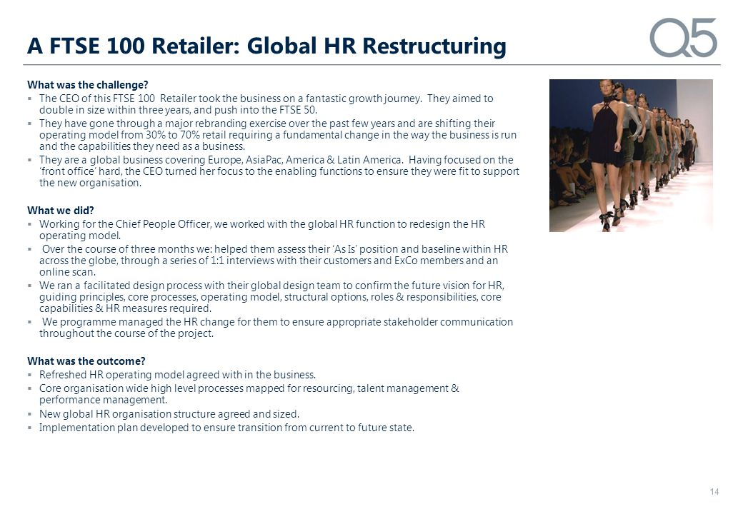 A FTSE 100 Retailer: Global HR Restructuring