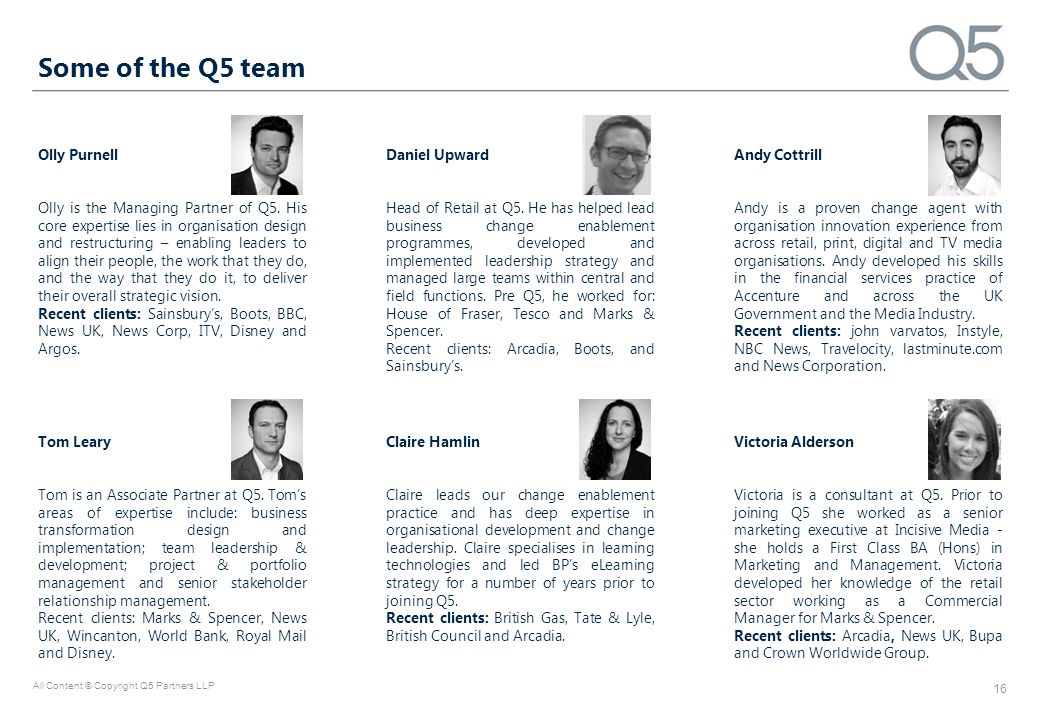Some of the Q5 team Olly Purnell