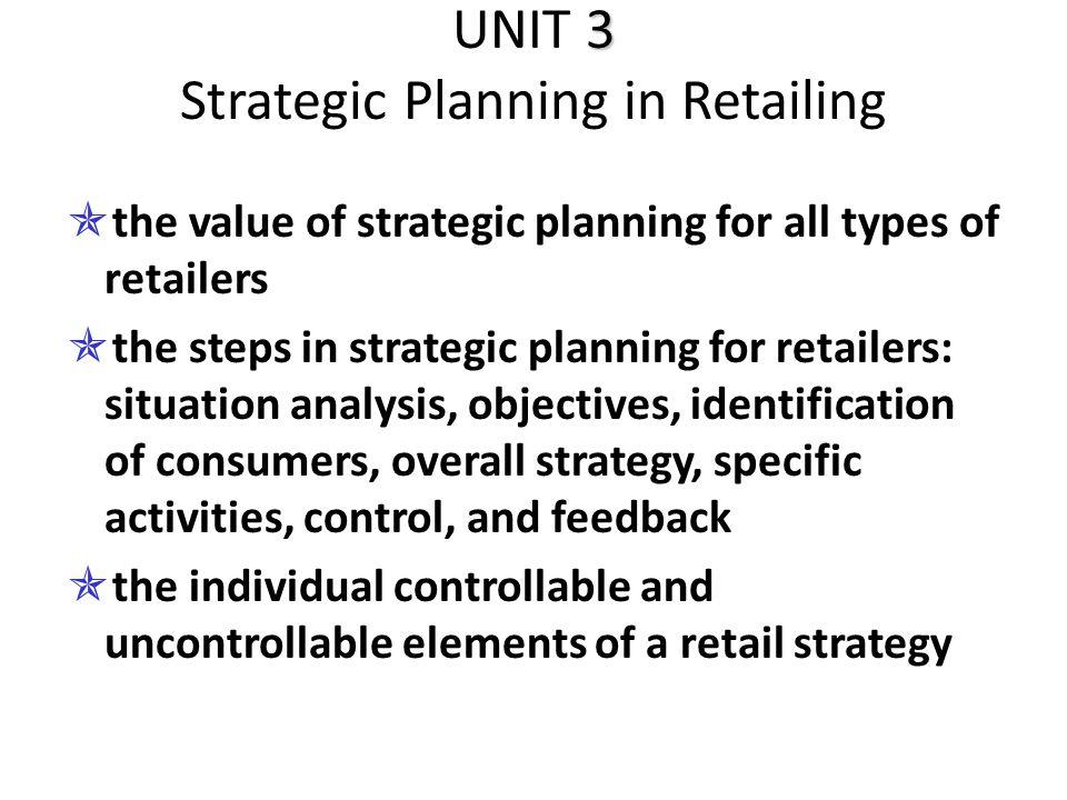 UNIT 3 Strategic Planning in Retailing