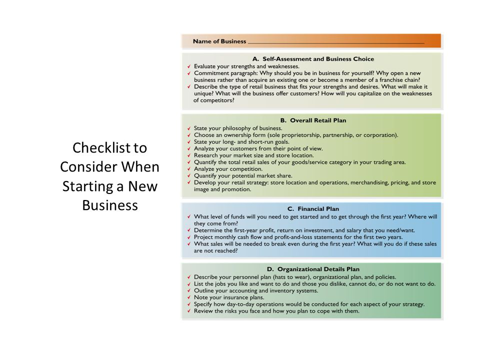 Checklist to Consider When Starting a New Business