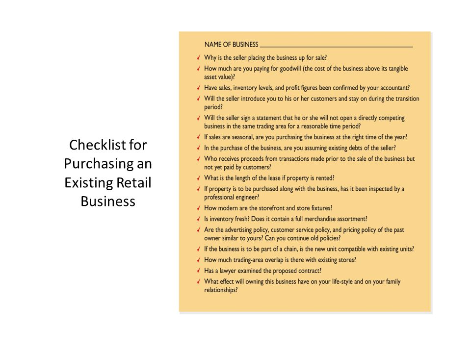 Checklist for Purchasing an Existing Retail Business