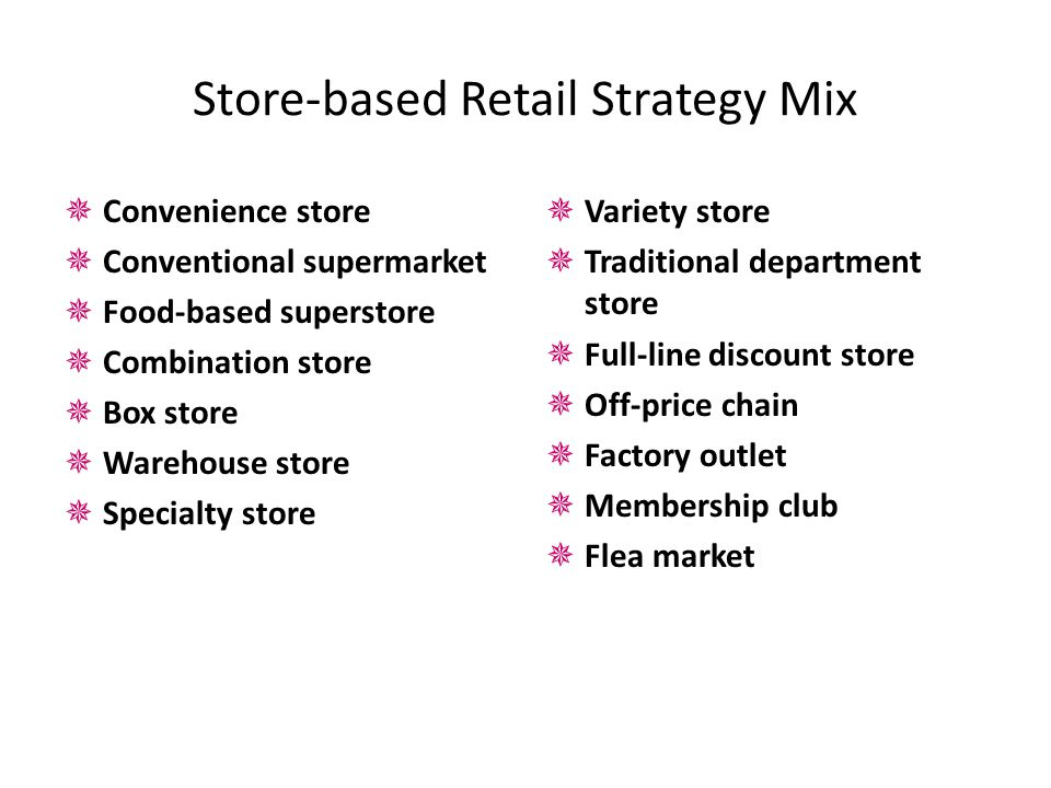 Store-based Retail Strategy Mix