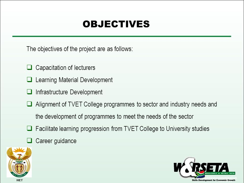OBJECTIVES The objectives of the project are as follows: