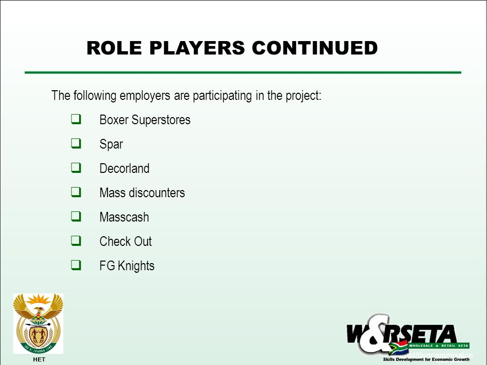 ROLE PLAYERS CONTINUED