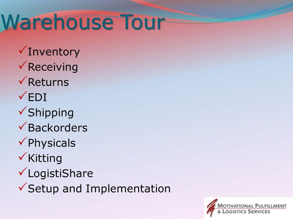 Warehouse Tour Inventory Receiving Returns EDI Shipping Backorders