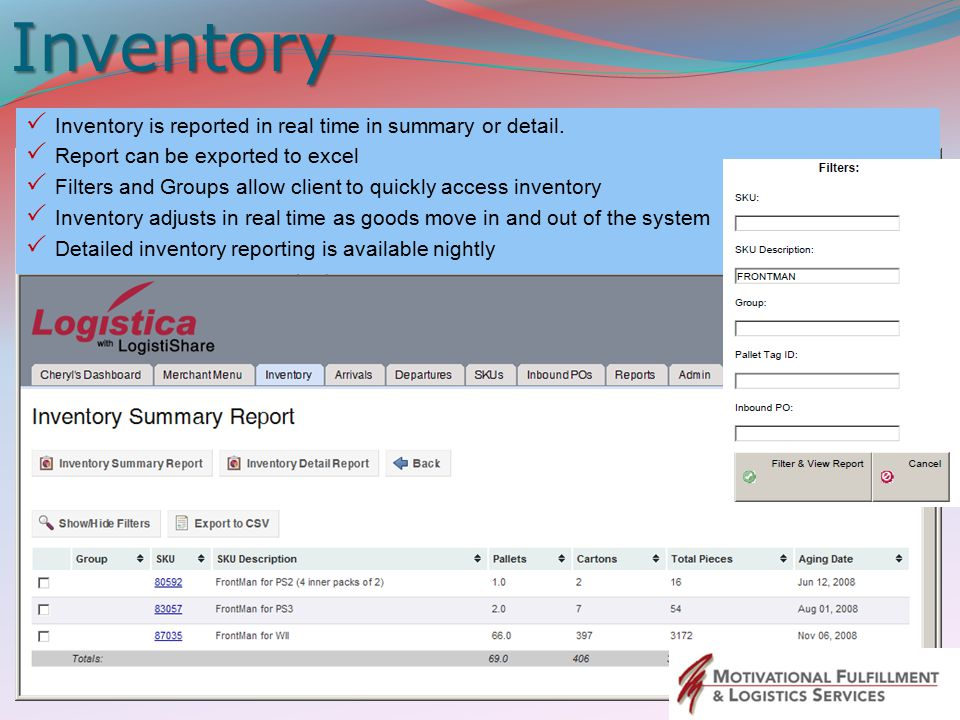 Inventory Inventory is reported in real time in summary or detail.