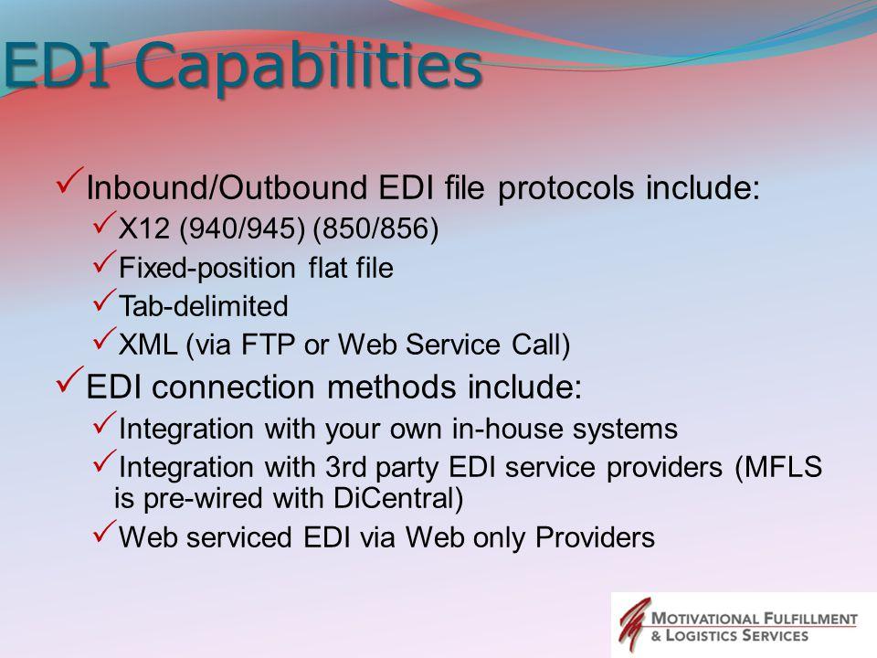 EDI Capabilities Inbound/Outbound EDI file protocols include: