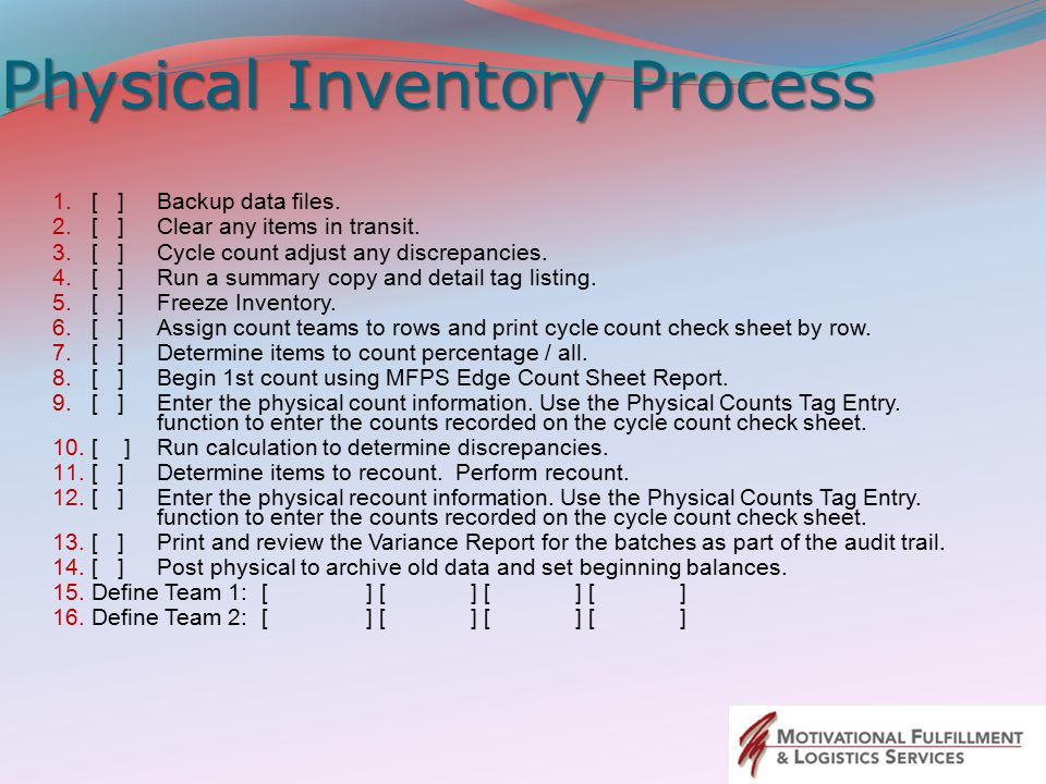 Physical Inventory Process