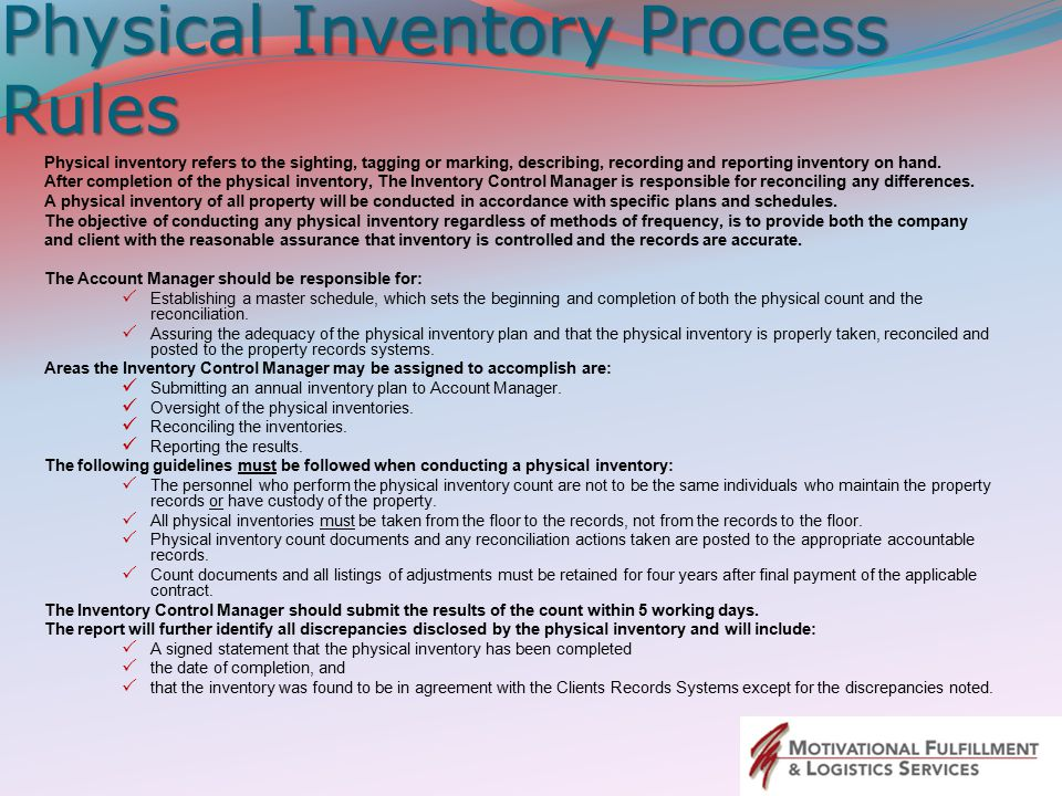 Physical Inventory Process Rules