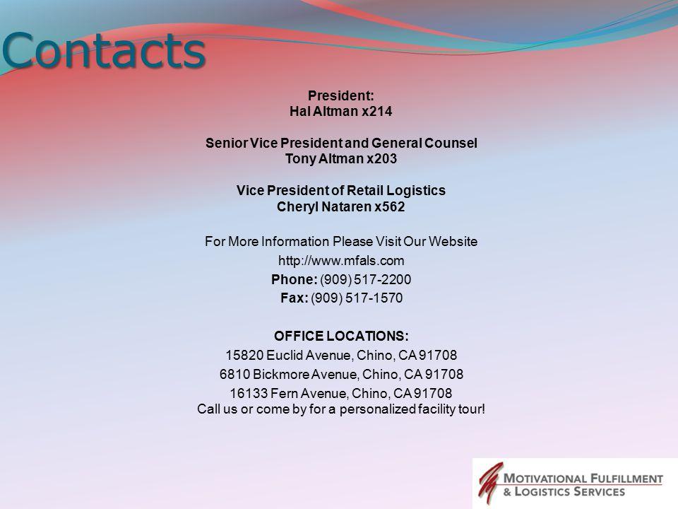 Contacts President: Hal Altman x214