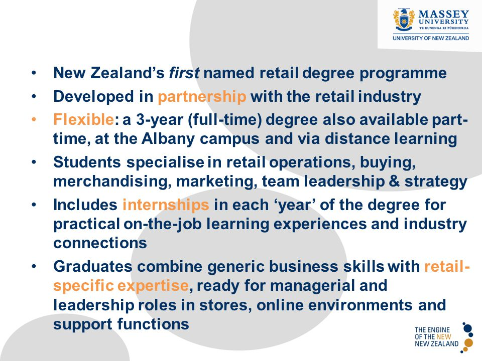 New Zealand's first named retail degree programme