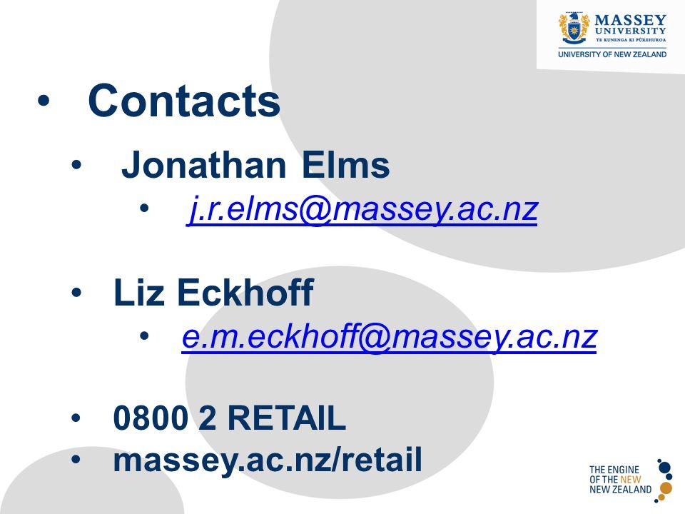 Contacts Jonathan Elms Liz Eckhoff j.r.elms@massey.ac.nz