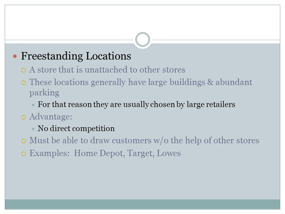 Freestanding Locations