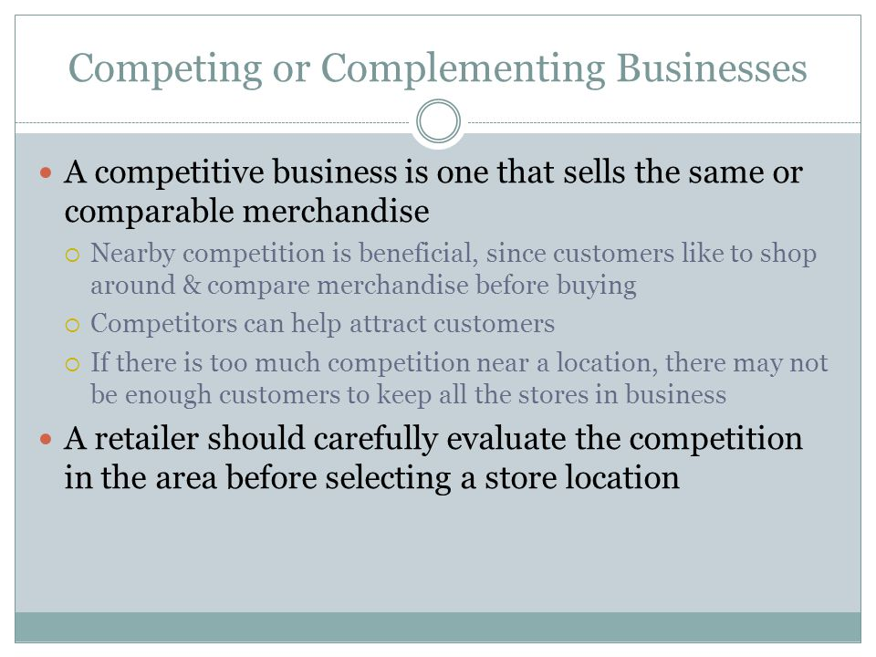 Competing or Complementing Businesses