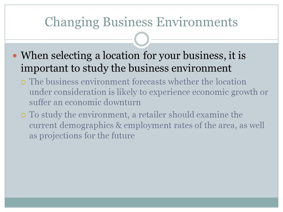 Changing Business Environments