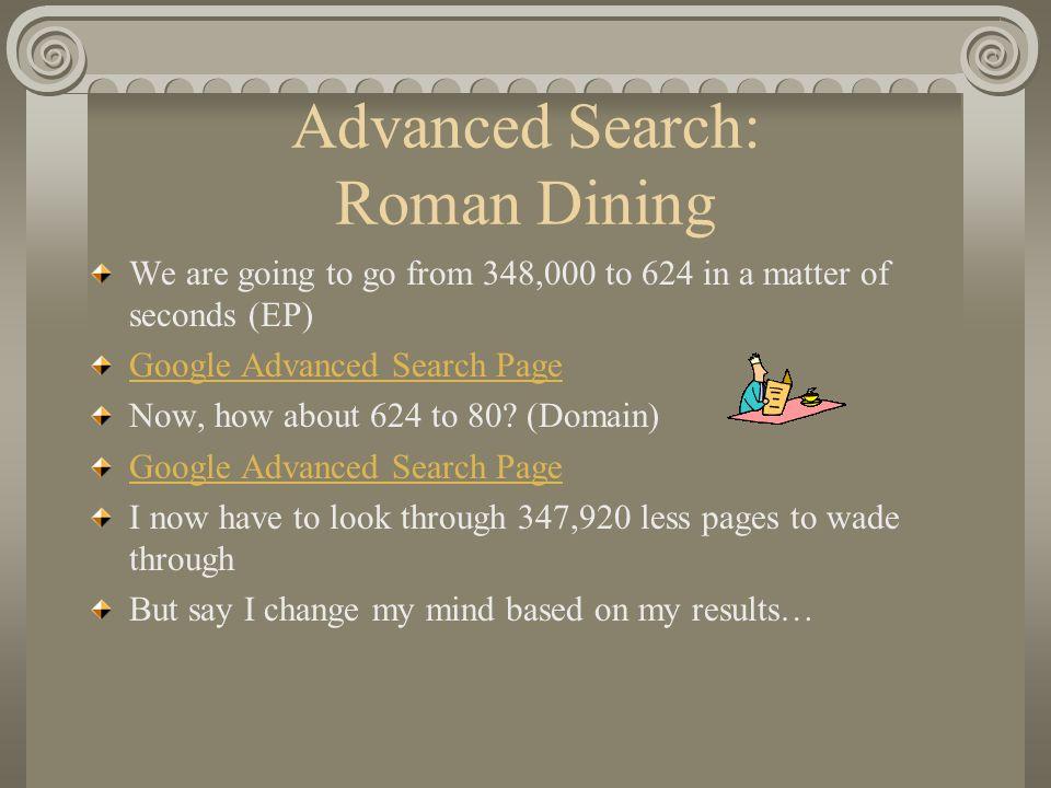 Advanced Search: Roman Dining
